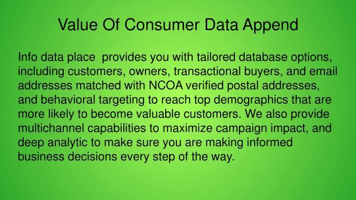 Value Of Consumer Data Append