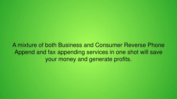 A mixture of both Business and Consumer Reverse Phone Append and fax appending services in one shot will save your money and generate profits.
