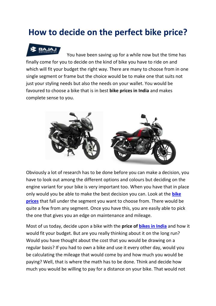 How to decide on the perfect bike price?