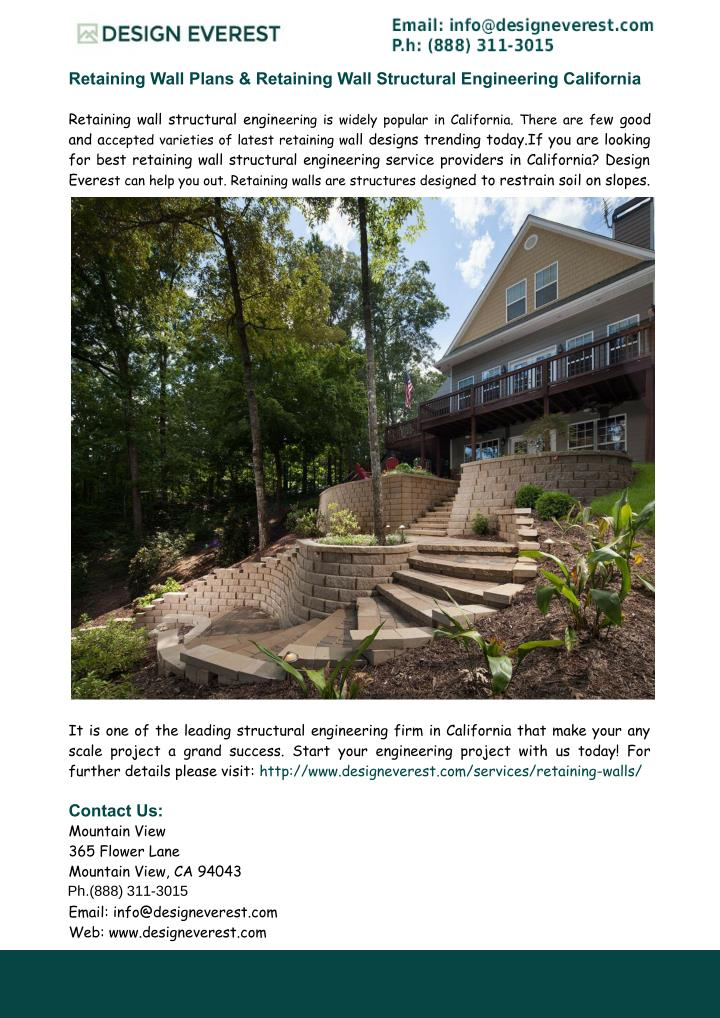 Retaining Wall Plans & Retaining Wall Structural Engineering California