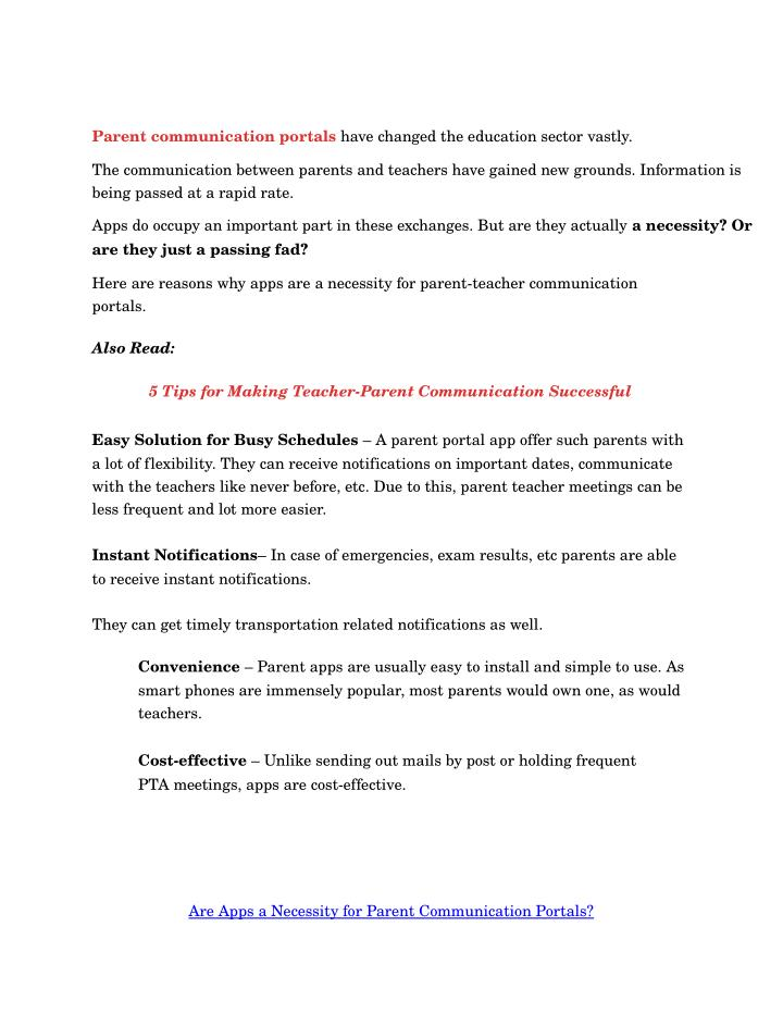 Parentcommunicationportals