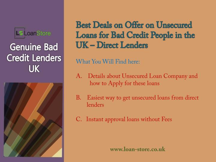 Best Deals on Offer on Unsecured