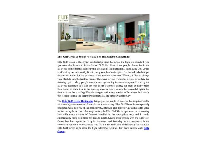Elite golf green in sector 79 noida for the suitable connectivity 7447309