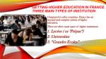 getting higher education in france three main types of institution