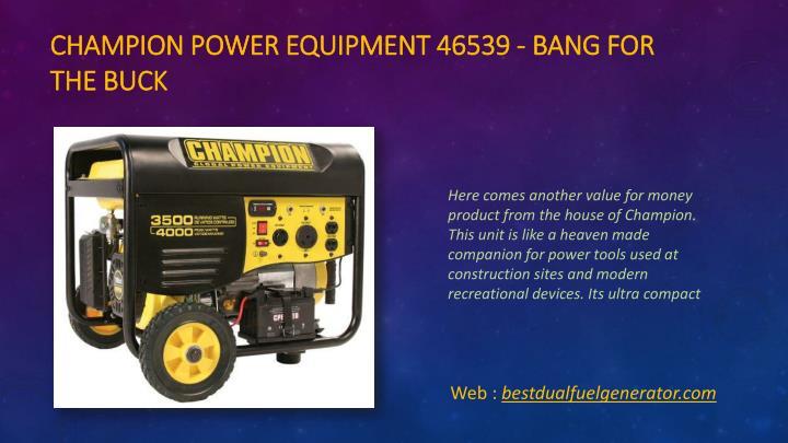 Champion Power Equipment 46539 - Bang for the Buck