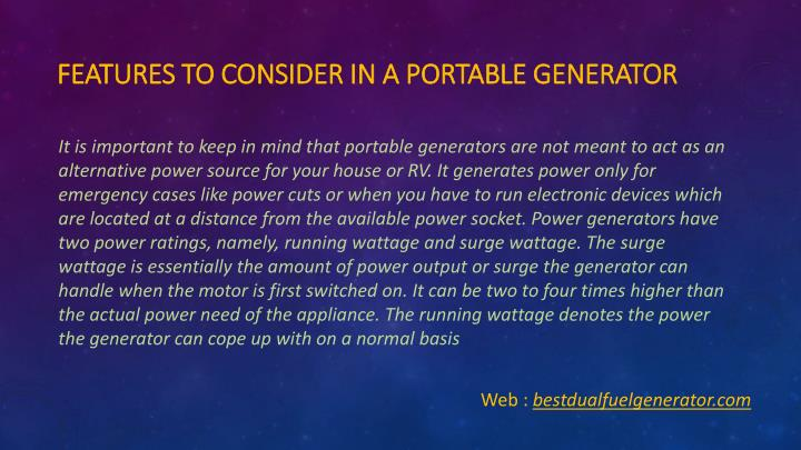 Features to Consider in a Portable Generator