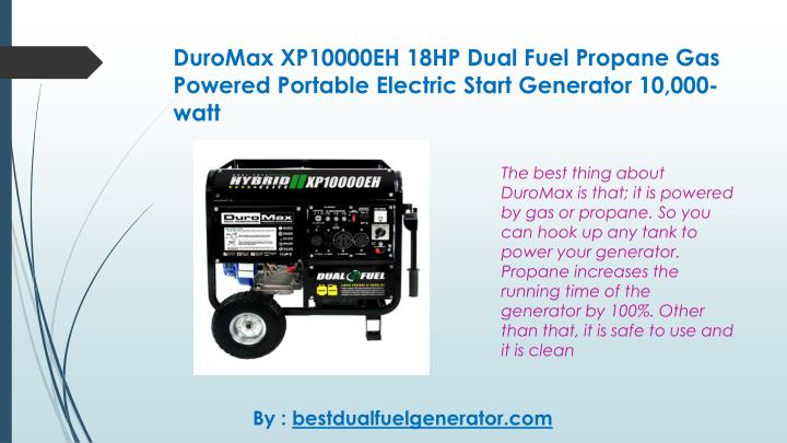 Duromax xp10000eh 18hp dual fuel propane gas powered portable electric start generator 10 000 watt