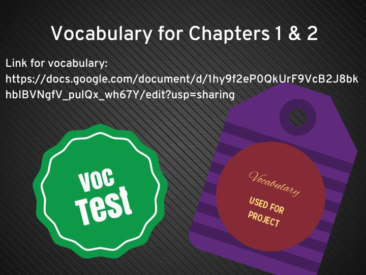 Vocabulary for Chapters 1 & 2