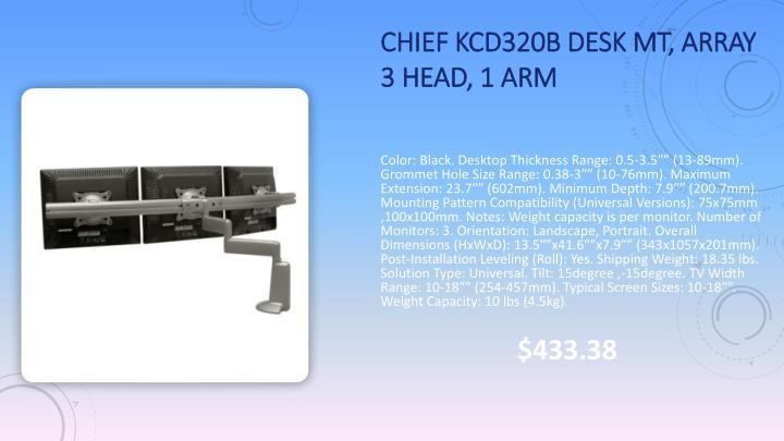 Chief KCD320B Desk Mt, Array 3 Head, 1 Arm