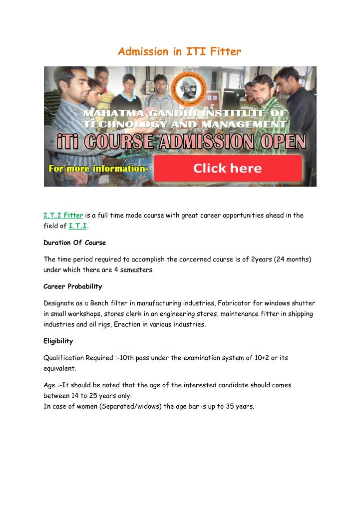 Admission in ITI Fitter