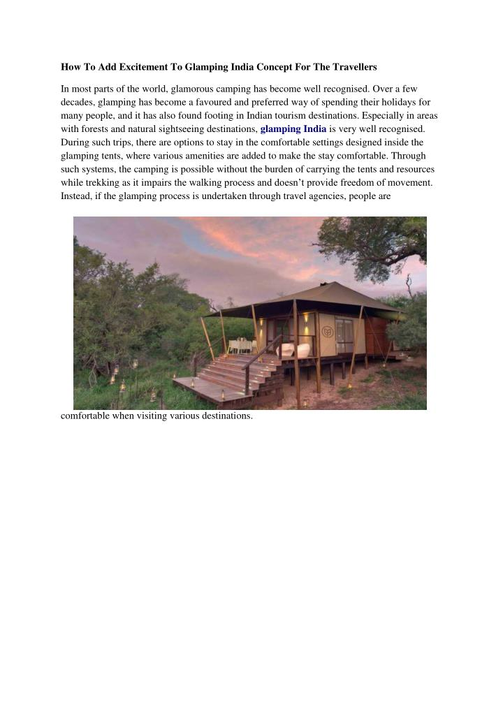 How To Add Excitement To Glamping India Concept For The Travellers