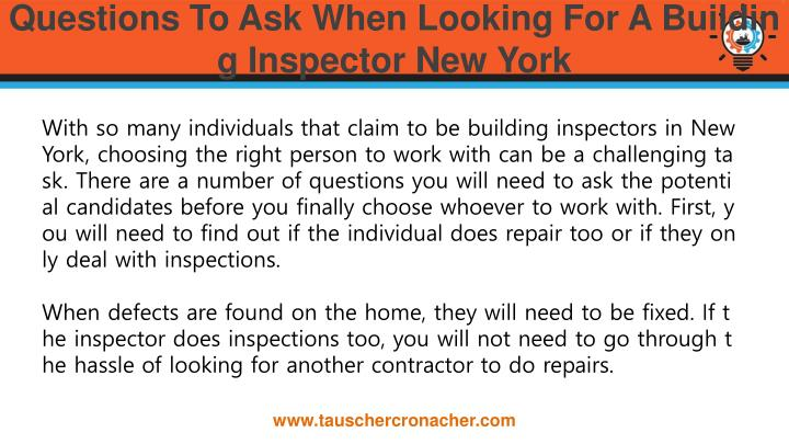 Questions to ask when looking for a building inspector new york1
