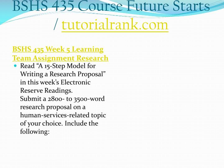 BSHS 435 Course Future Starts /