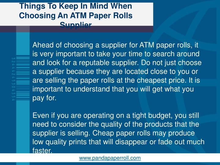 Things to keep in mind when choosing an atm paper rolls supplier2