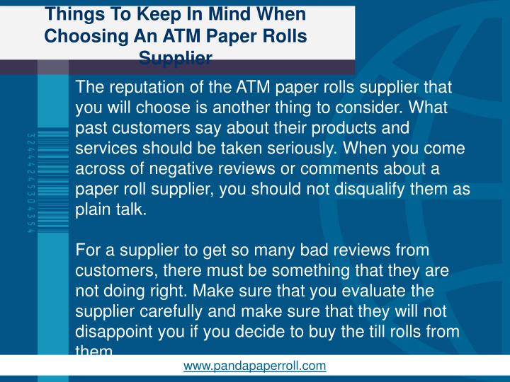 Things To Keep In Mind When Choosing An ATM Paper Rolls Supplier