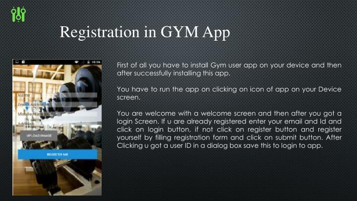 Registration in GYM App