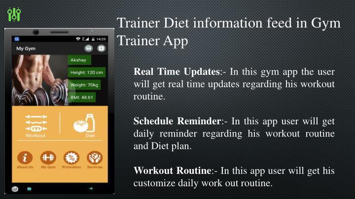 Trainer Diet information feed in Gym Trainer App
