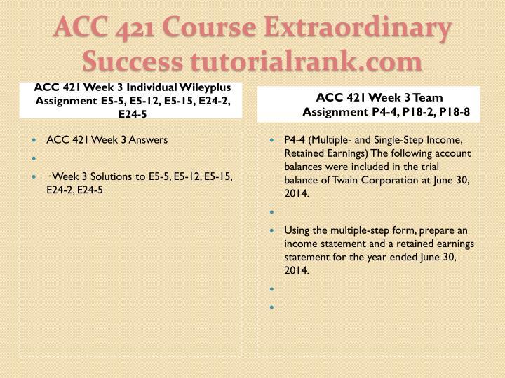 ACC 421 Week 3 Individual Wileyplus Assignment E5-5, E5-12, E5-15, E24-2, E24-5