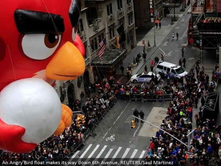An Angry Bird skim advances down sixth Avenue. REUTERS/Saul Martinez