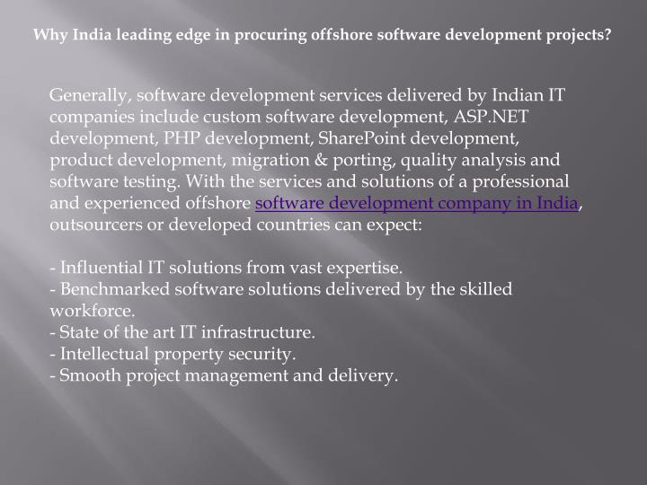 Why India leading edge in procuring offshore software development projects?