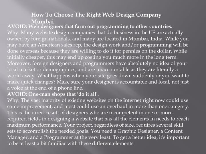 How To Choose The Right Web Design Company Mumbai