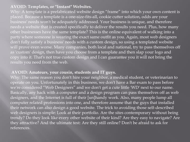 """AVOID: Templates, or """"Instant"""" Websites."""