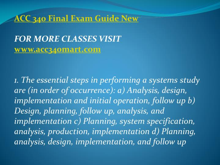 ACC 340 Final Exam Guide New