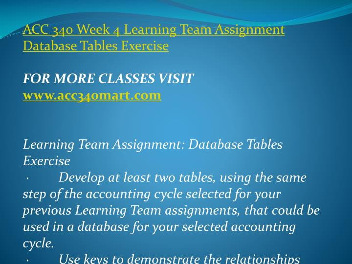 ACC 340 Week 4 Learning Team Assignment Database Tables Exercise