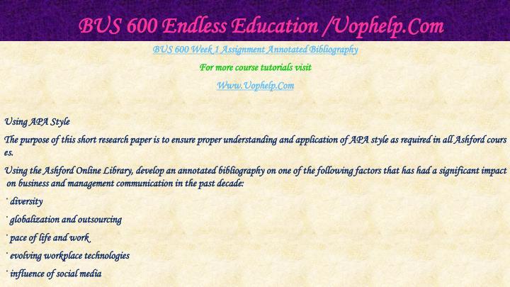 Bus 600 endless education uophelp com2