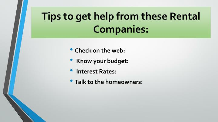 Tips to get help from these Rental
