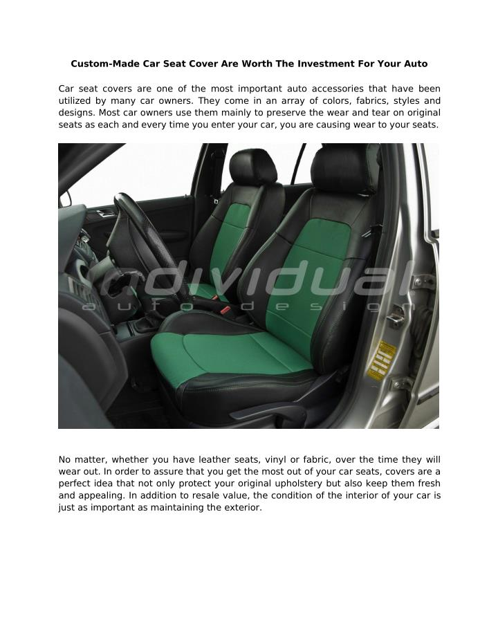 Custom-Made Car Seat Cover Are Worth The Investment For Your Auto