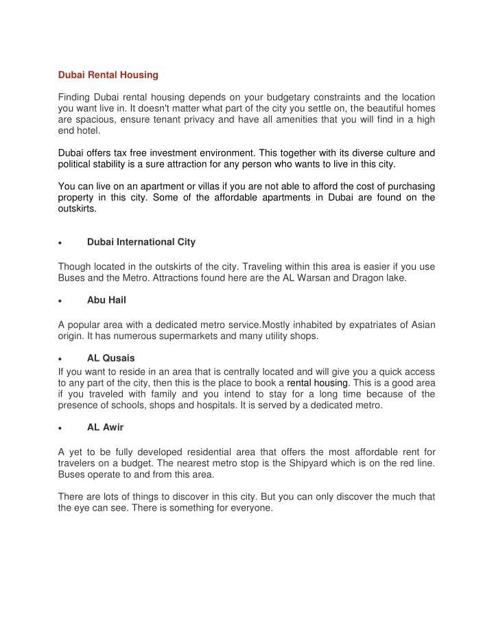 Dubai Rental Housing