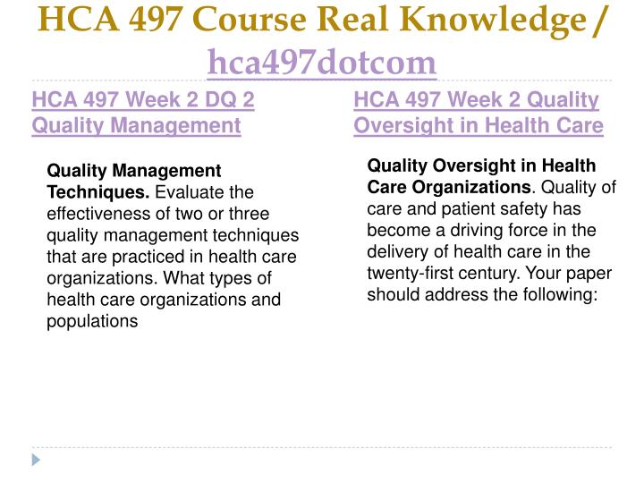 HCA 497 Course Real Knowledge /