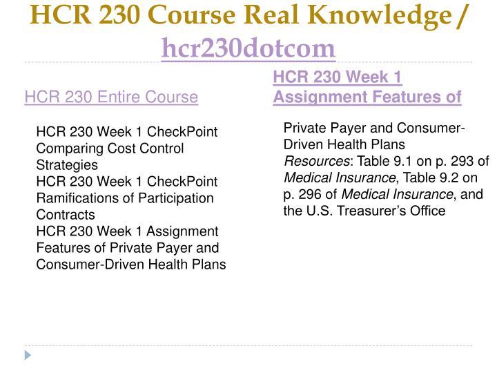 Hcr 230 course real knowledge hcr230dotcom1