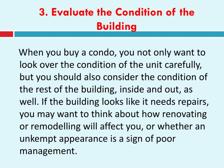 3. Evaluate the Condition of the Building