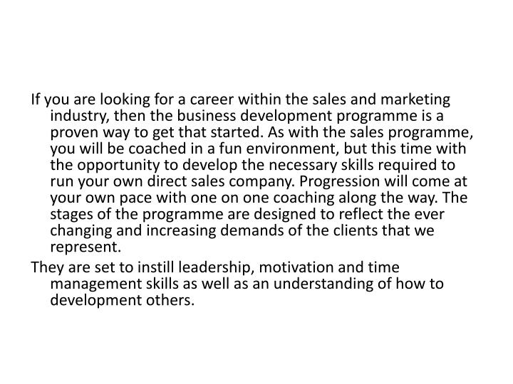 If you are looking for a career within the sales and marketing