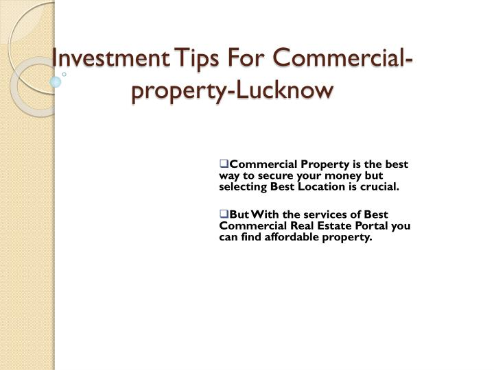 investment tips for commercial property lucknow