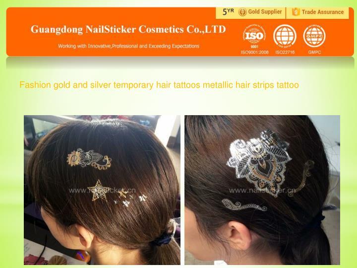 Fashion gold and silver temporary hair tattoos metallic hair strips tattoo