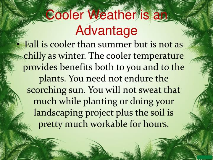 Cooler Weather is an Advantage