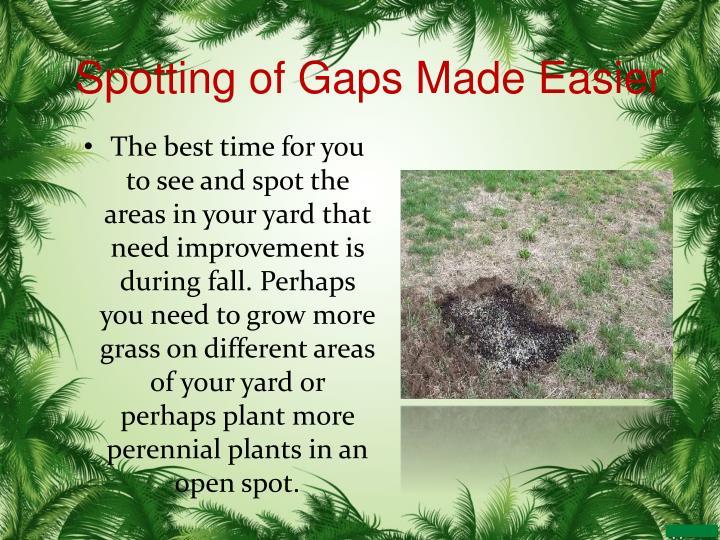 Spotting of Gaps Made Easier