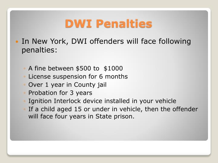 In New York, DWI offenders will face following penalties:
