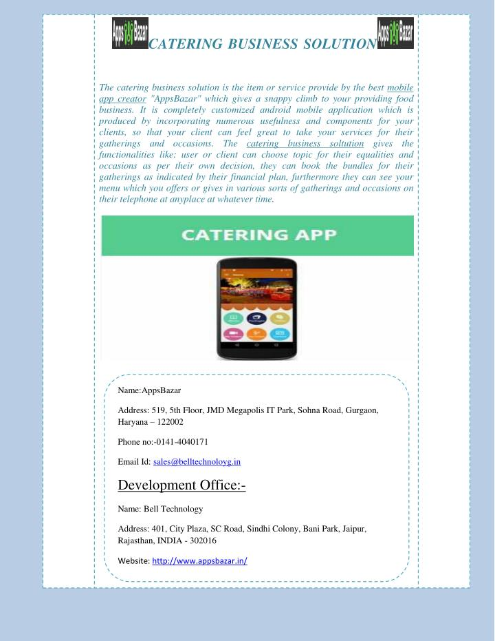 CATERING BUSINESS SOLUTION