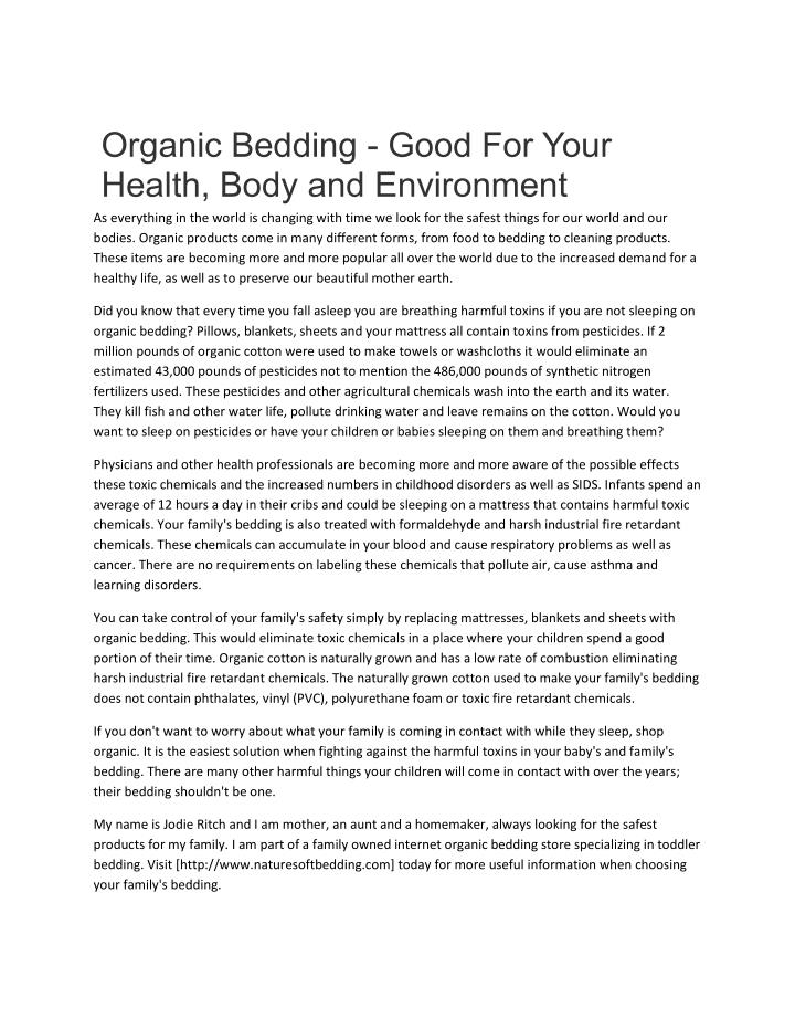 Organic Bedding - Good For Your