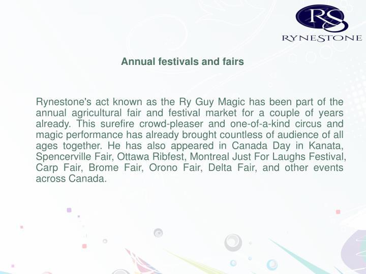 Annual festivals and fairs
