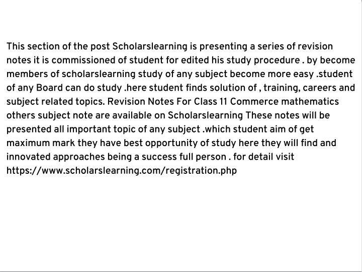 This section of the post Scholarslearning is presenting a series of revision
