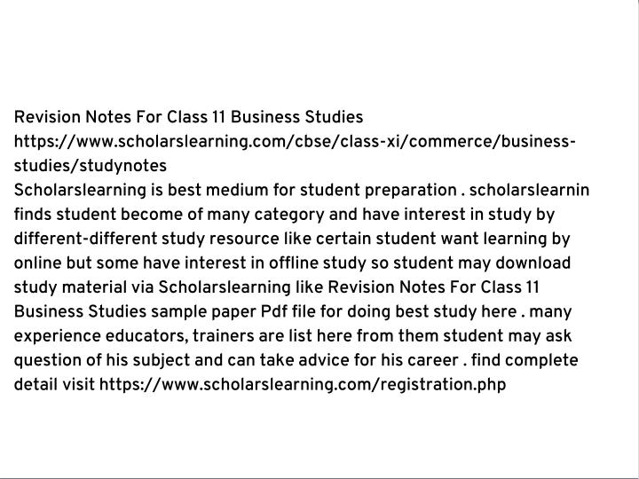 Revision Notes For Class 11 Business Studies