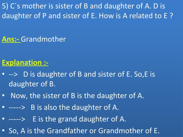 5) C`s mother is sister of B and daughter of A. D is
