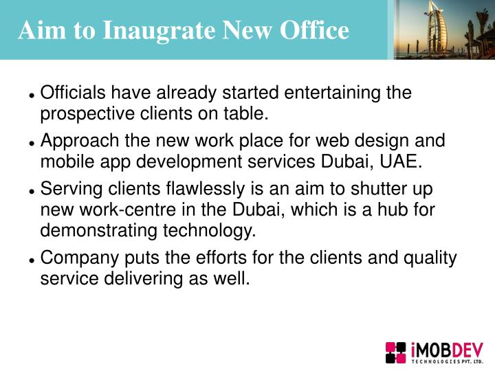 Aim to inaugrate new office