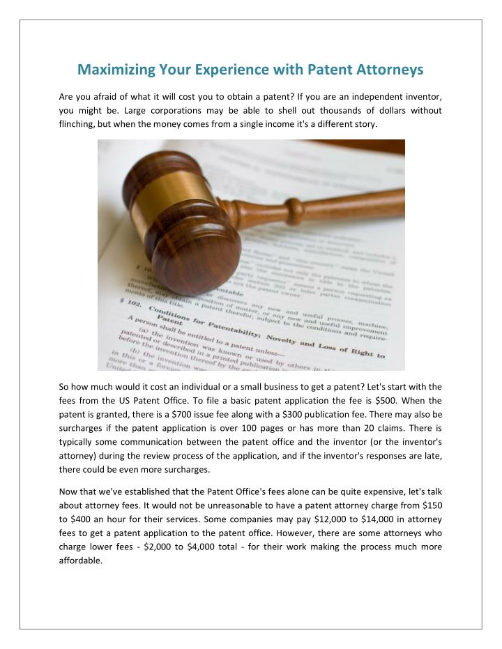 Maximizing Your Experience with Patent Attorneys