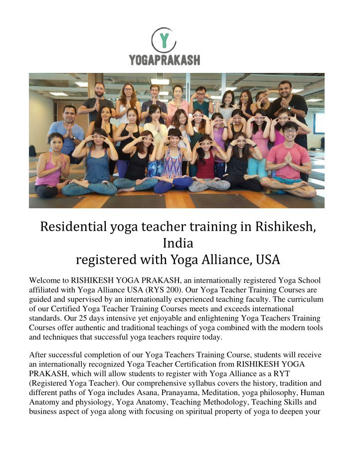 Residential yoga teacher training in Rishikesh,